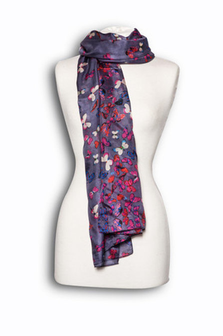 Purple Silk Butterfly Scarf