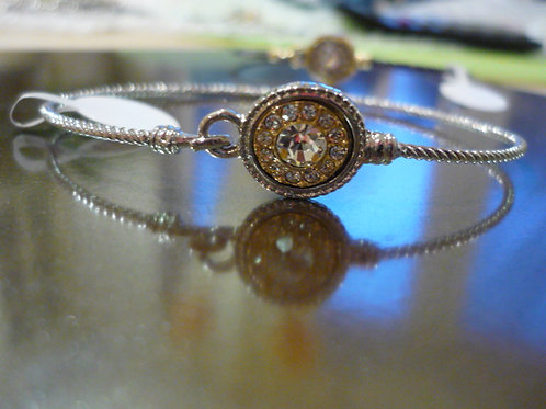 Delicate silver crystal bangle