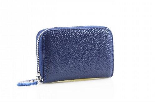Blue leather credit card holder