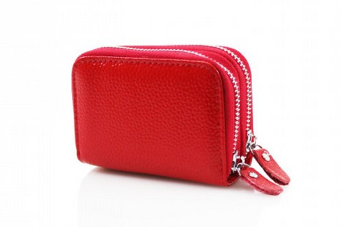 Red leather purse with credit card holder
