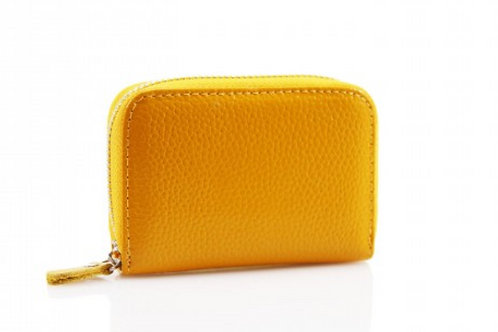 Yellow leather credit card holder