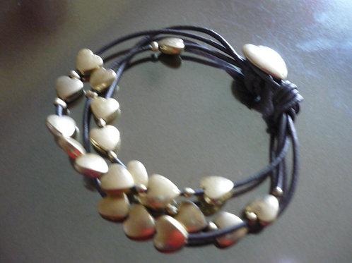 3 strand charcoal leather bracelet, gold hearts