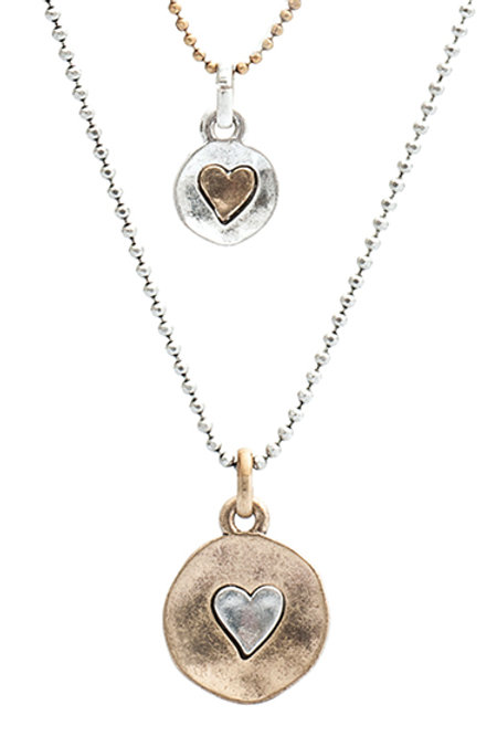 Heart disc short double chain necklace