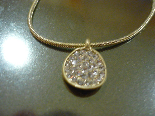 Gold crystal round necklace