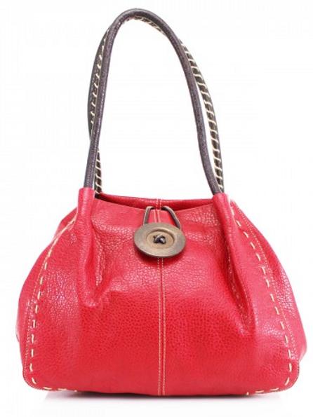 Red Button Shoulder Bag