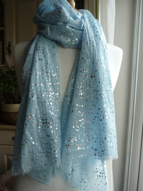 Pale Blue with metallic Silver speckles