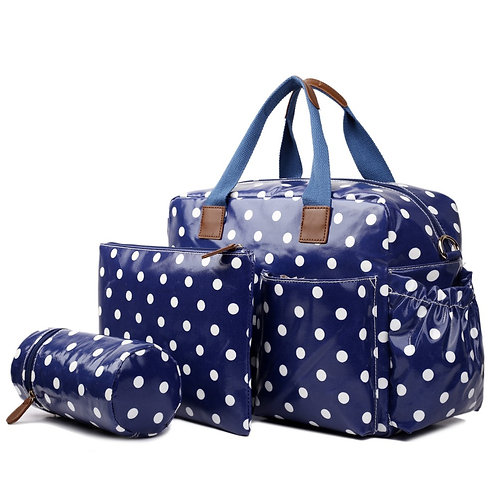 Baby Changing Bag Set - Blue polka dot