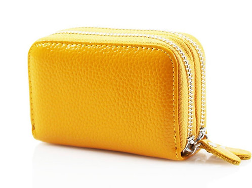 Yellow leather purse with credit card holder