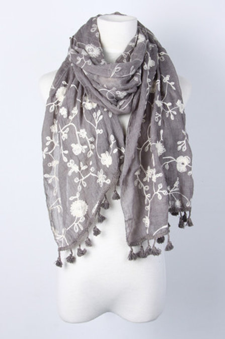 Grey embroidered scarf with tassles