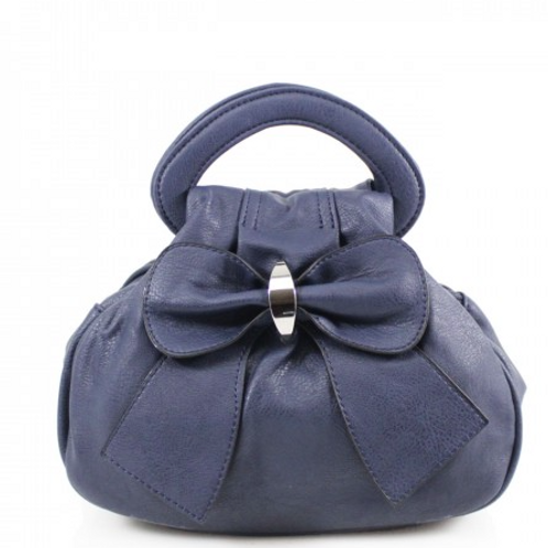 Navy Bow Bag with multiple pockets
