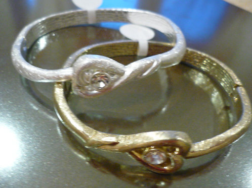 Gold heart bangle with crystal