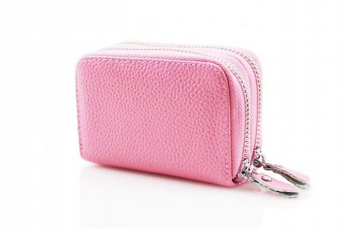 Pink leather purse with credit card holder