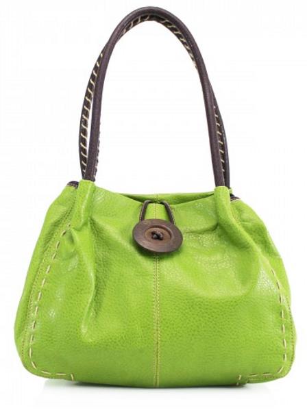 Green Button Shoulder Bag