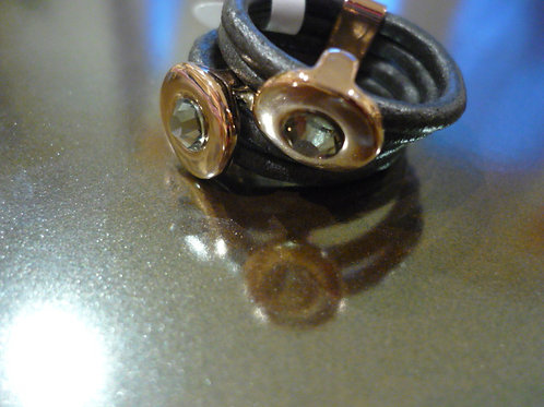 4 strand charcoal leather ring with Rose Gold