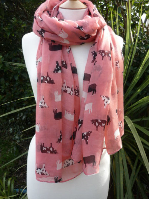 Cow Scarf - Coral