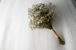 hand tied bouquet and dress