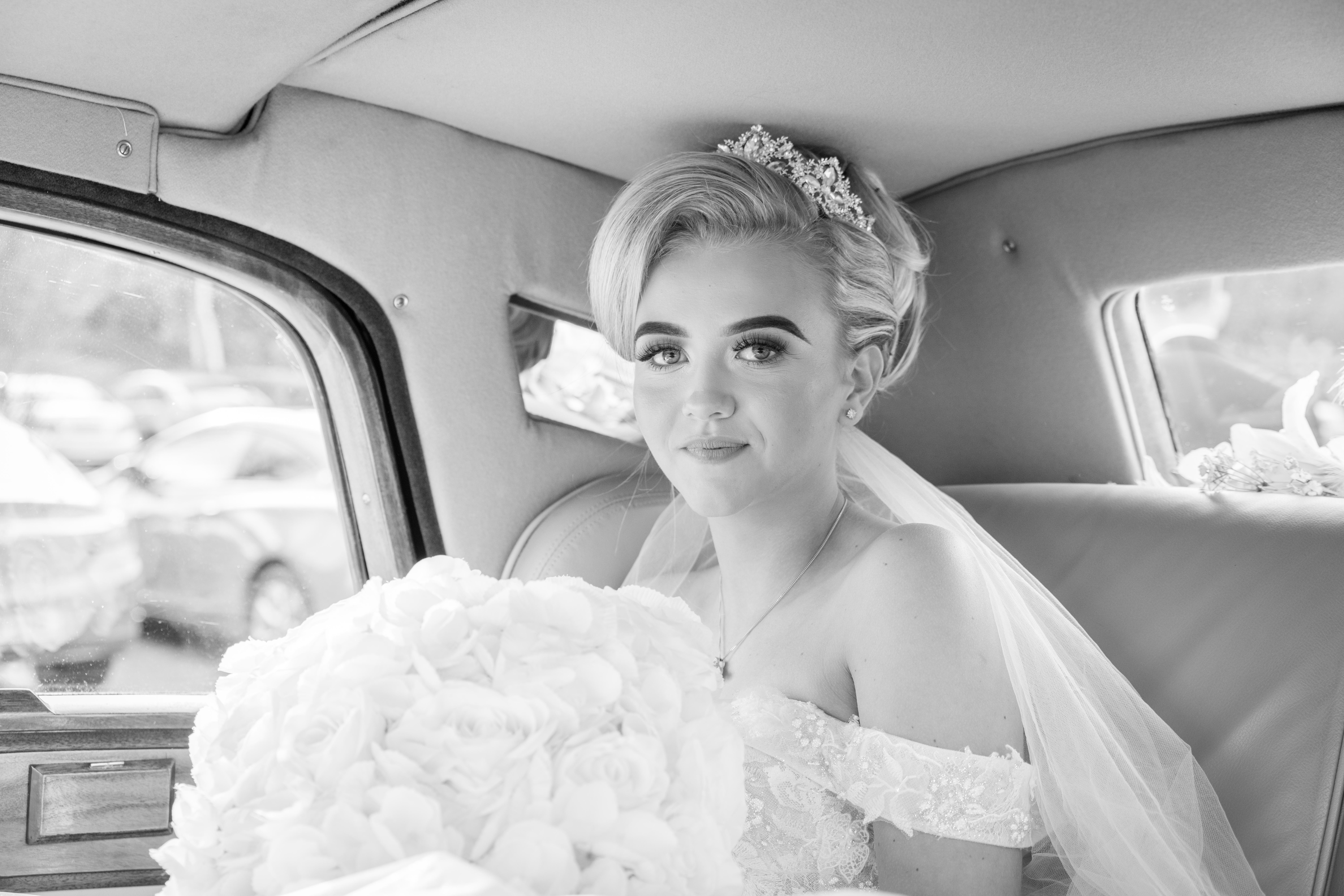 bride in car Kent