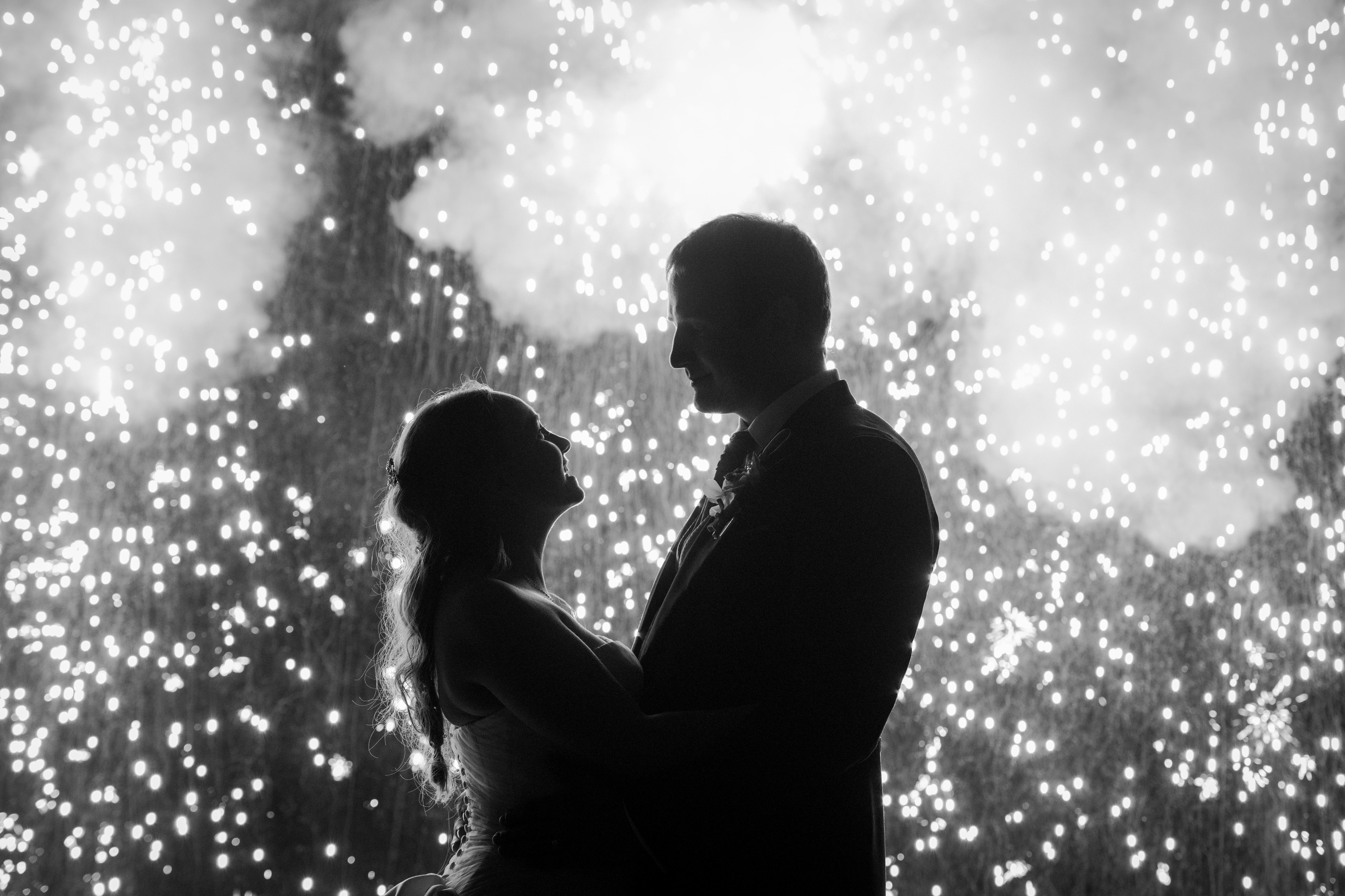 wedding portrait with sparkler curtain