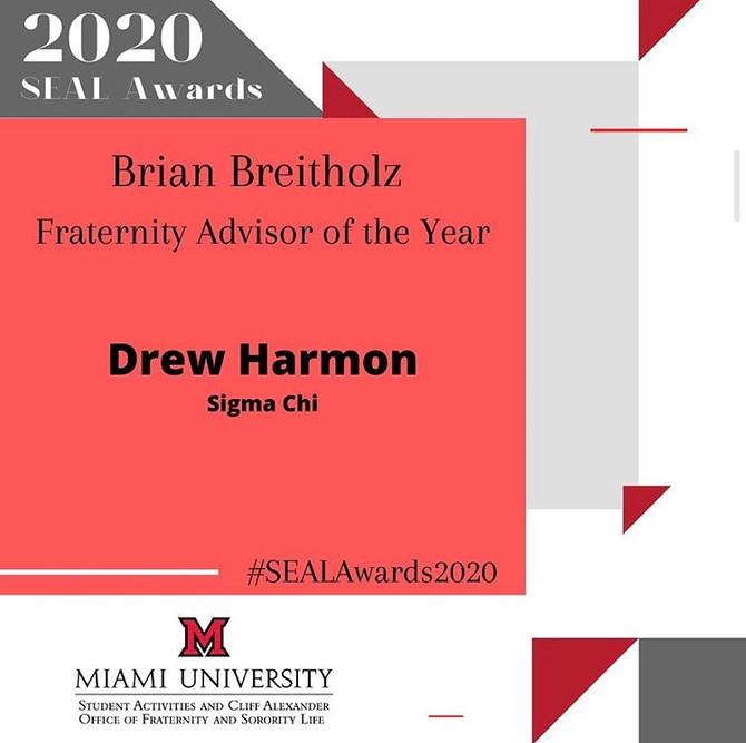Drew Harmon—Fraternity Advisor of the Year