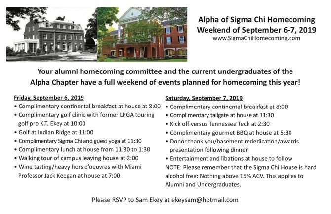 Fall Homecoming Info