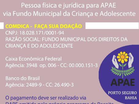 Repasse seu imposto para a Apae Porto Seguro