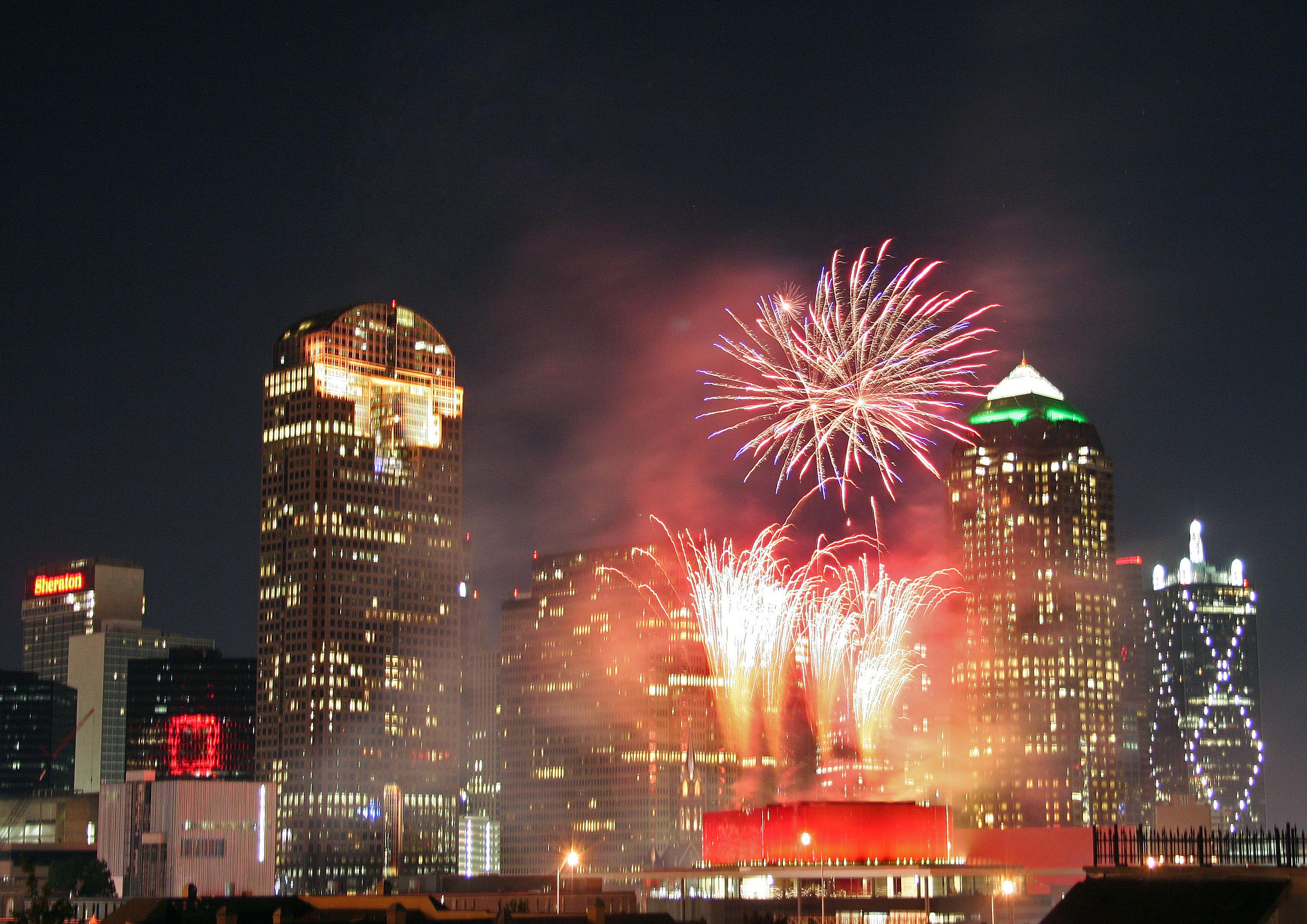 Dallas skyline Arts District opening nig