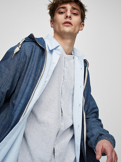 Denim Jacket with Hood and Zip Fastening