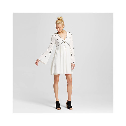 Women's Embroidered Bell-Sleeve Dress