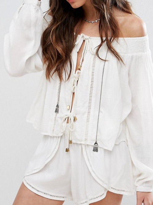 Off Shoulder Rope Front Top
