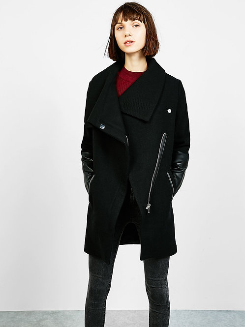 Coat with Leather-effect Sleeves