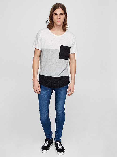 Panelled Tee with Pocket