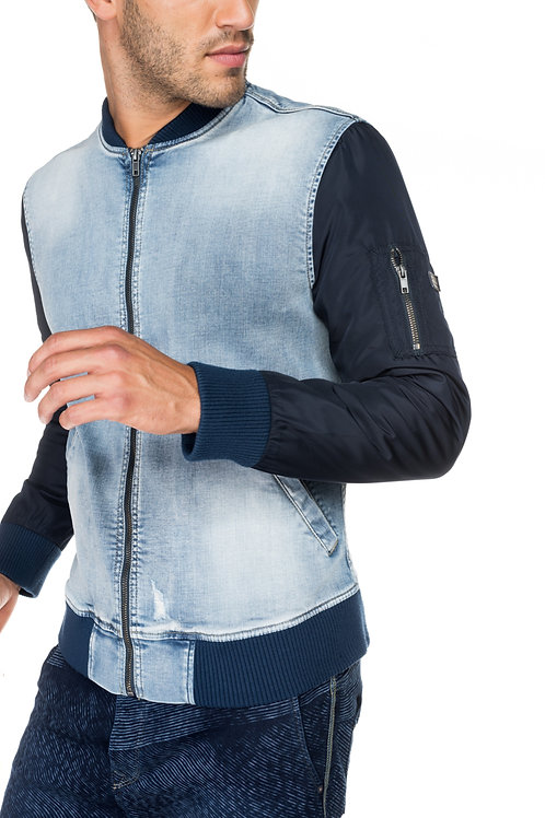 Denim Jacket w' Nylon Sleeves