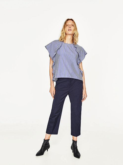 Striped Top Frilled Sleeve