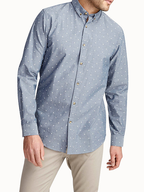 Accent Print Chambray Shirt