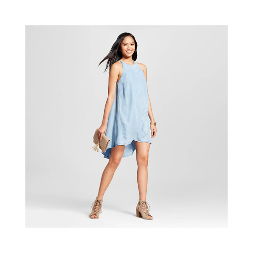 Halter Dress in Chambray Look