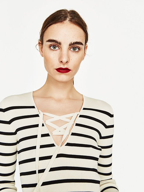 Ribbed Sweater Lace Neck