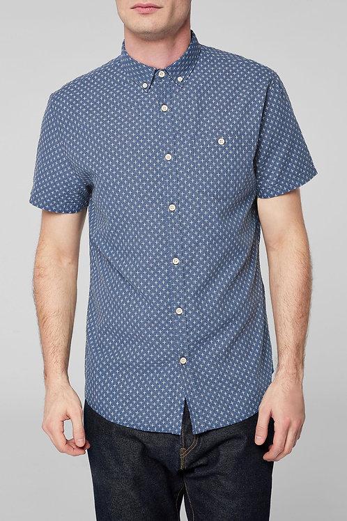 Short Sleeve Cross Texture Shirt