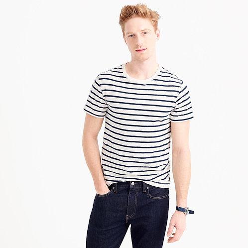 Slub Cotton Deck-Striped T-shirt