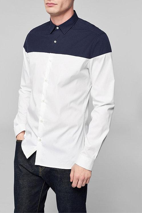 ShirtLong Sleeve Splice Panel Shirt