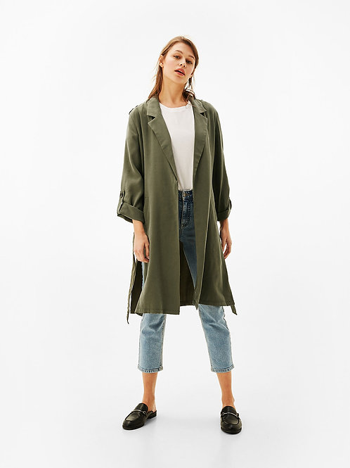 Long Soft Trench Coat with Belt