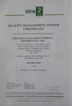 Quality Management System Certificat