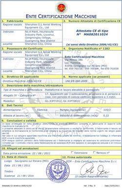CE Compliance Certificate
