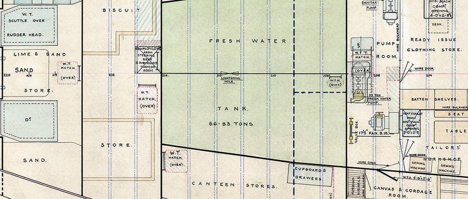 Close up of image J9983 - Freshwater Tanks, Lower Deck plan