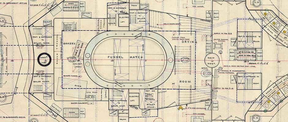 Close up image of J9976 - Funnel hatch on Upper Deck plan
