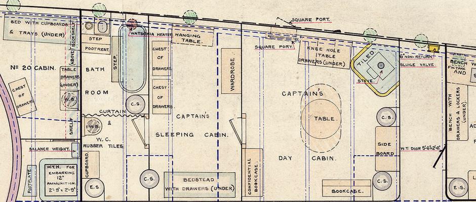 Close up of image J9981 - Captain's Quarters, Main Deck Plan