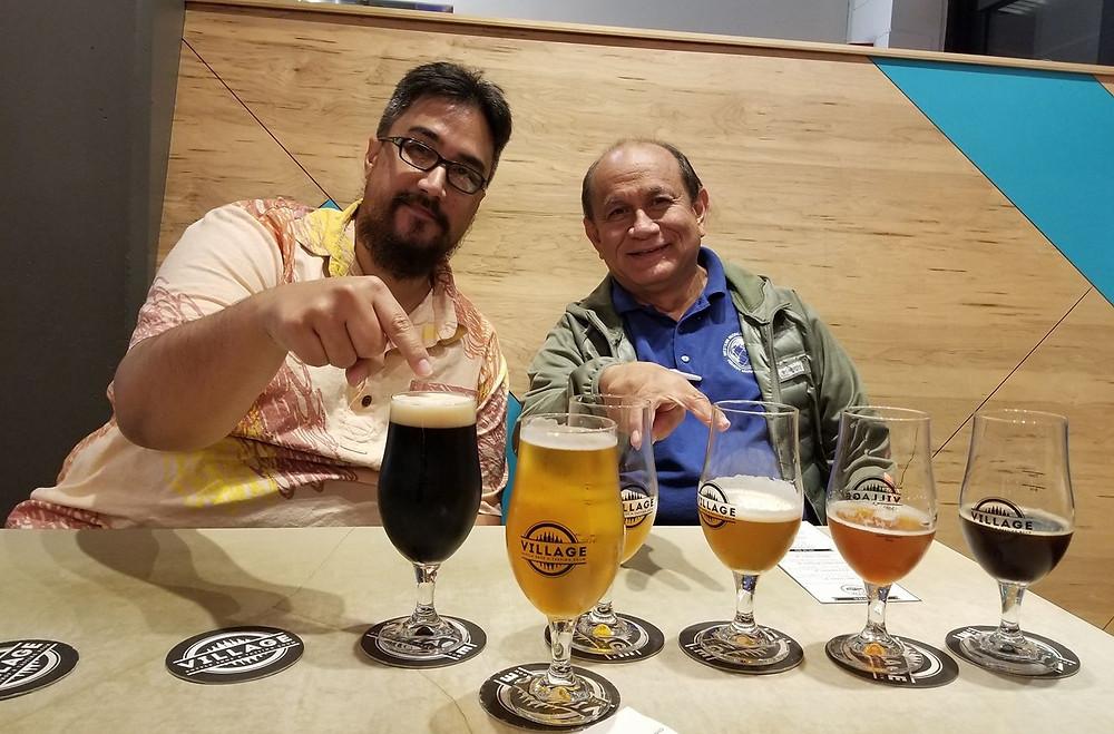 Josh (left) and Felix enjoying some beers