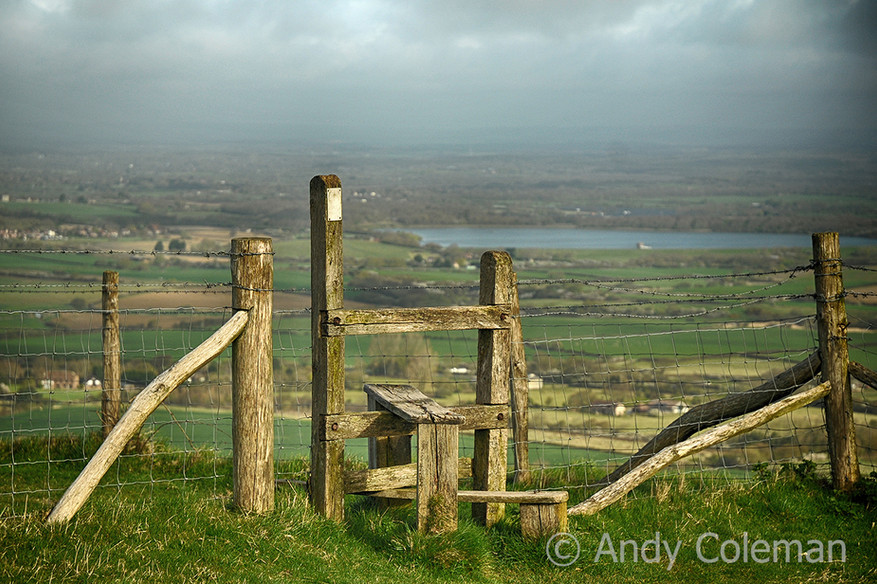 A stile at the South Downs National Park in East Sussex