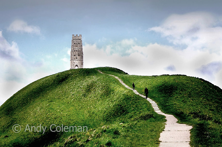 Glastonbury Tor rises up from the Somerset Levels in the West Country. Legends say that it has connections with the stories of King Arthur, the Wizard Merlin and the possible location of Avalon.