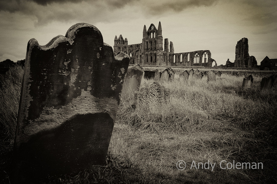 Whitby Abbey and a graveyard in North Yorkshire