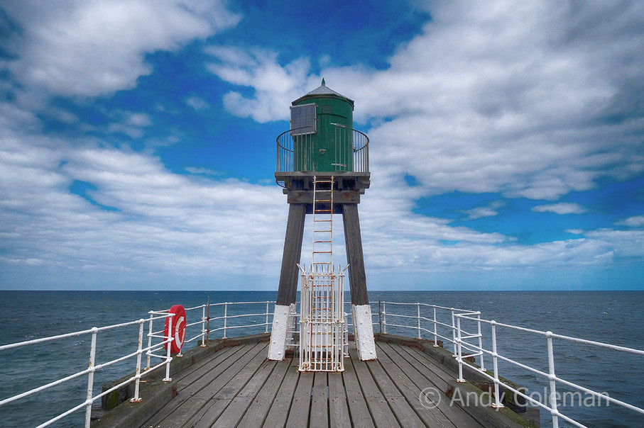 A warning beacon at Whitby harbour entrance